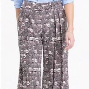 Jcrew collection silk pants in feather print